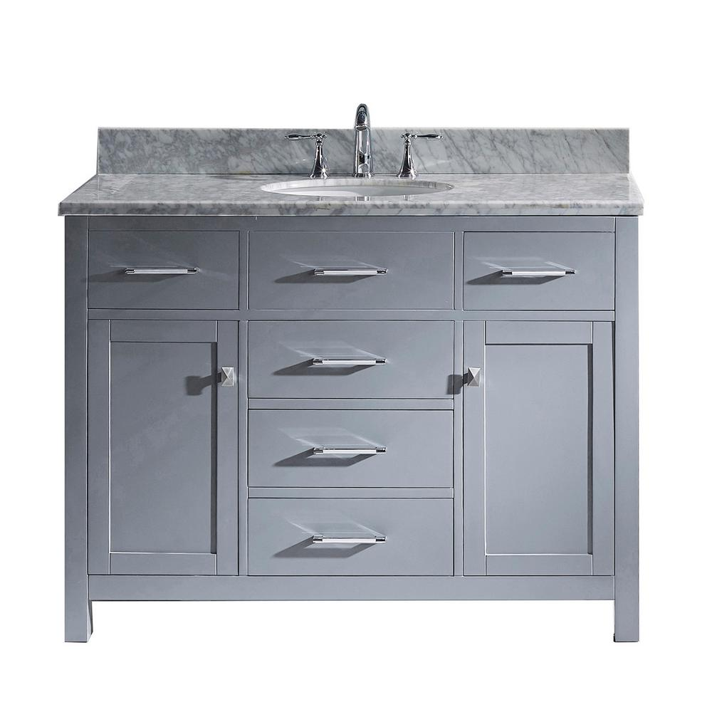Caroline 49 in. W Bath Vanity in Gray with Marble Vanity