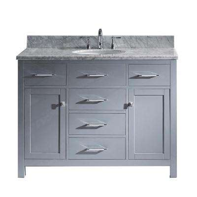 Caroline 48 in. W x 22 in. D Single Vanity in Gray with Marble Vanity Top in White with White Basin