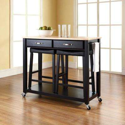 Black Kitchen Cart With Natural Wood Top & Modern - Kitchen Island - Kitchen Carts - Carts Islands u0026 Utility ...