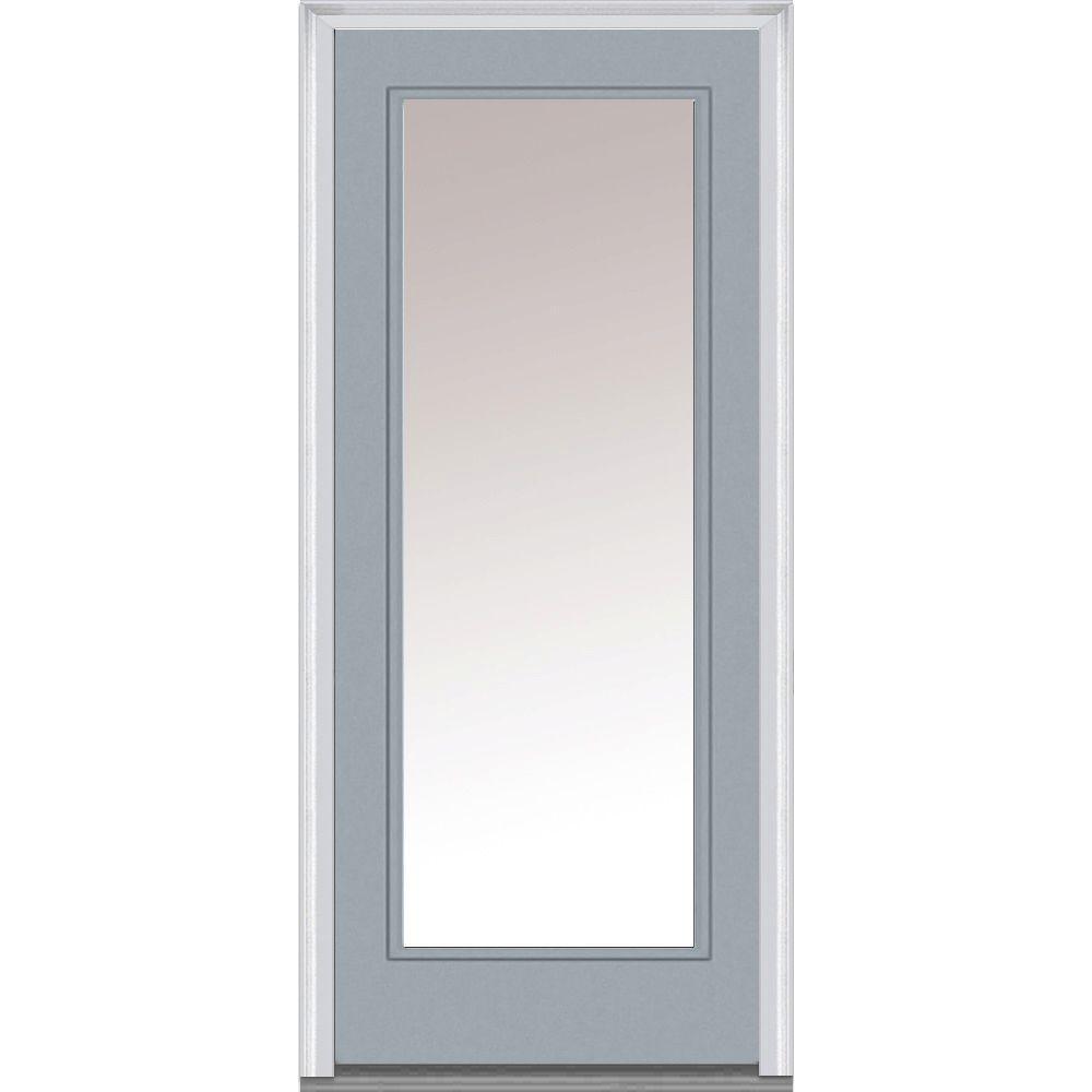 Mmi door 30 in x 80 in clear glass right hand full lite for Prehung entry door with storm door