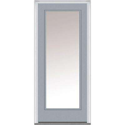 30 in. x 80 in. Right-Hand Inswing Full Lite Clear Classic Painted Steel Prehung Front Door