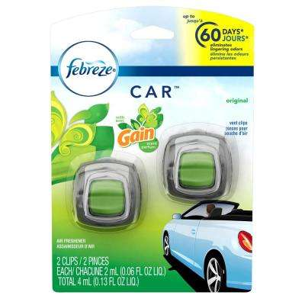 0.06 oz. Original Scent with Gain Car Vent Clip Air Freshener (2-Pack)