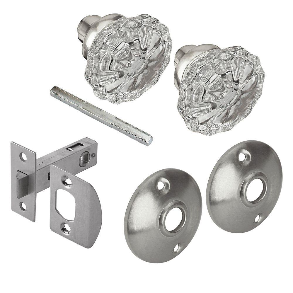 Defiant 2 in. Satin Nickel Victorian Glass Knob Passage Set