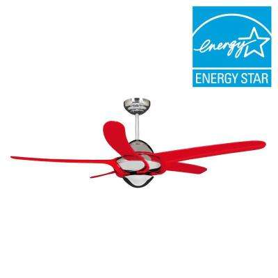 Uragano 54 in. Indoor Chrome Ceiling Fan with 5 Red Blades