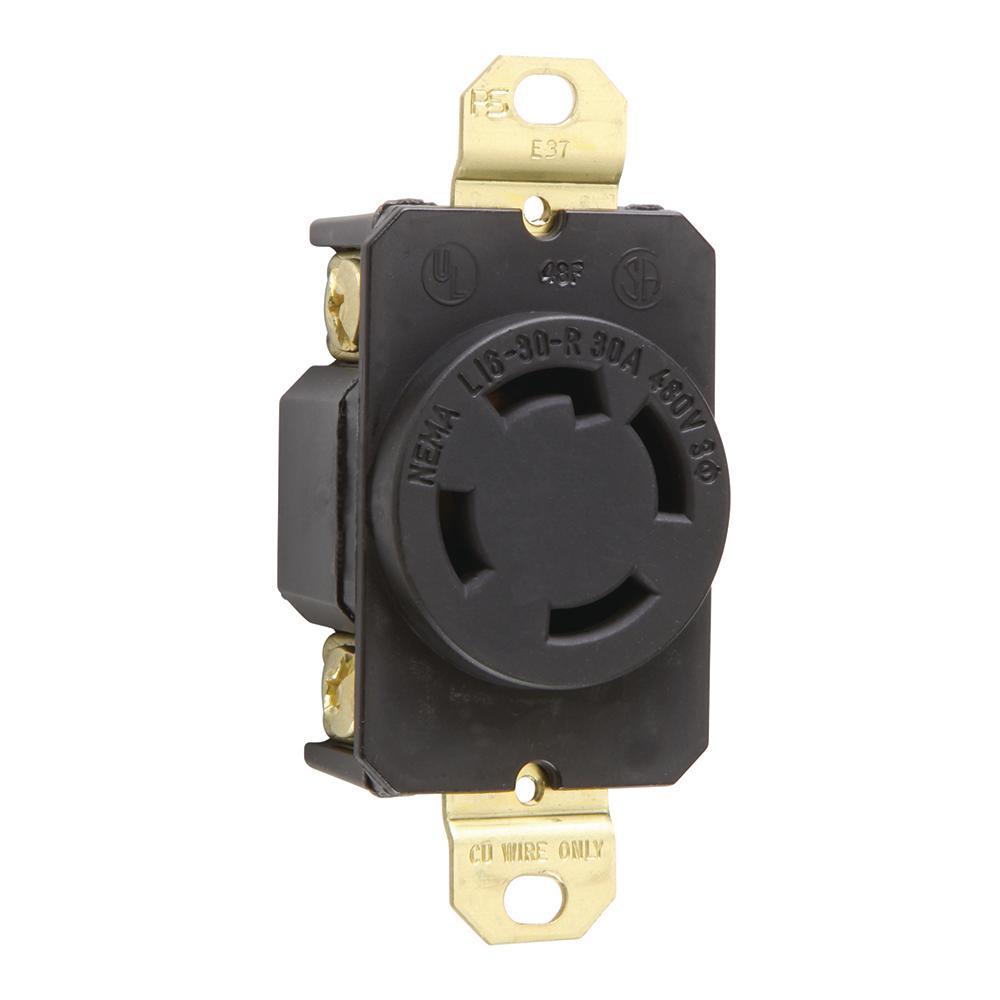 P/&S 30 Amp 30Y,120//208v NEMA L21-30R Flush Mount Locking Receptacle, 3P 4W
