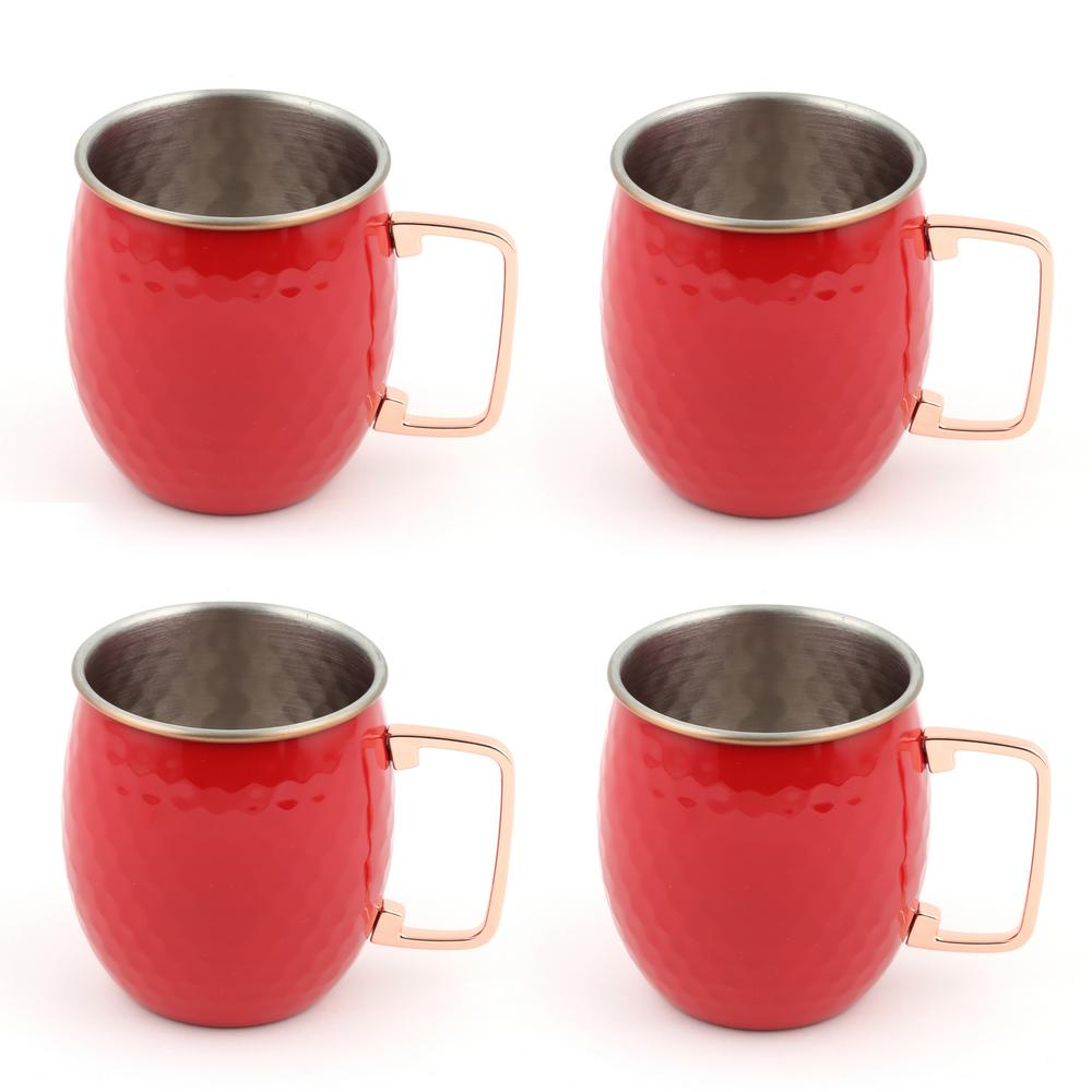 20 oz. Hammered Stainless Steel Scarlet Moscow Mule Mugs (4-Pack)