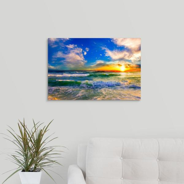 """Large Sunset Sea Seascape Canvas Wall Picture 44/""""x20/"""""""