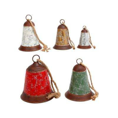 S/5 9.5 in. H Nested Metal Bells with Jute Hanger