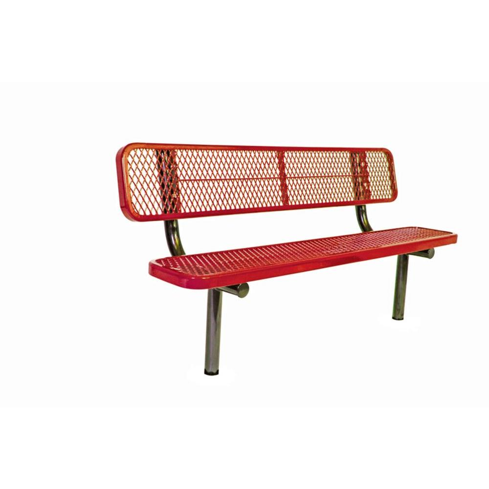 Ultra Play 6 ft. Diamond Red In-Ground Commercial Park Bench with Back Surface Mount