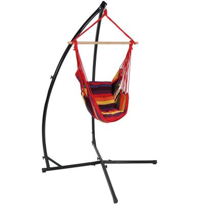 3.75 ft. Hanging Hammock Chair Swing and X-Stand Set in Sunset
