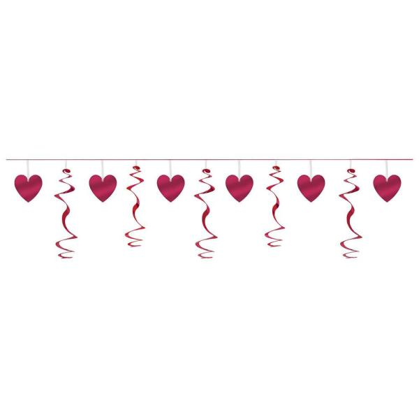 6.8 in. Valentine's Day Red Foil Heart Swirl Garland (4-Pack)