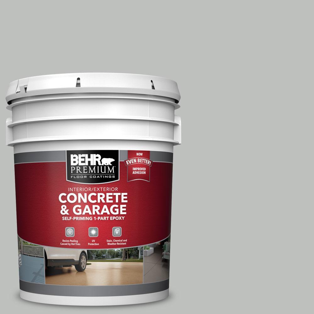 BEHR PREMIUM 5 gal. #PFC-62 Pacific Fog Self-Priming 1-Part Epoxy Satin Interior/Exterior Concrete and Garage Floor Paint