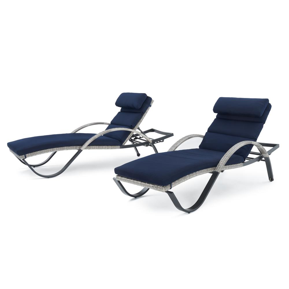 Cannes 2-Piece Wicker Outdoor Chaise Lounge with Sunbrella Navy Blue Cushions