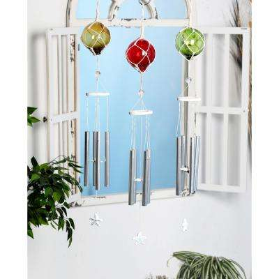 Multi-Colored Aluminum and Glass Ball and Star Wind Chimes (Set of 3)