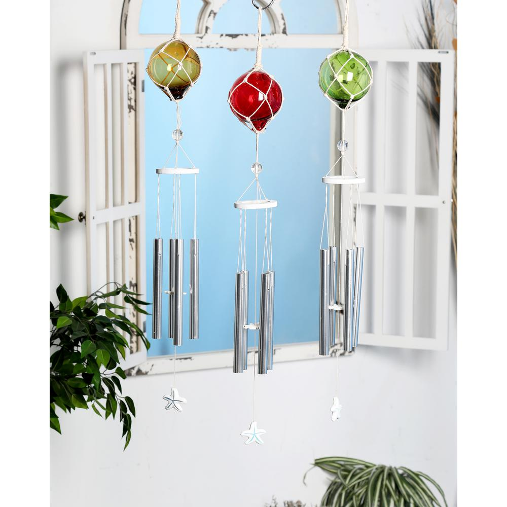 Multi-Colored Aluminum and Glass Ball and Star Wind Chimes (Set of