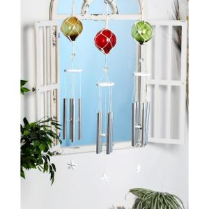 Multi-Colored Aluminum and Glass Ball and Star Wind Chimes (Set of 3) by