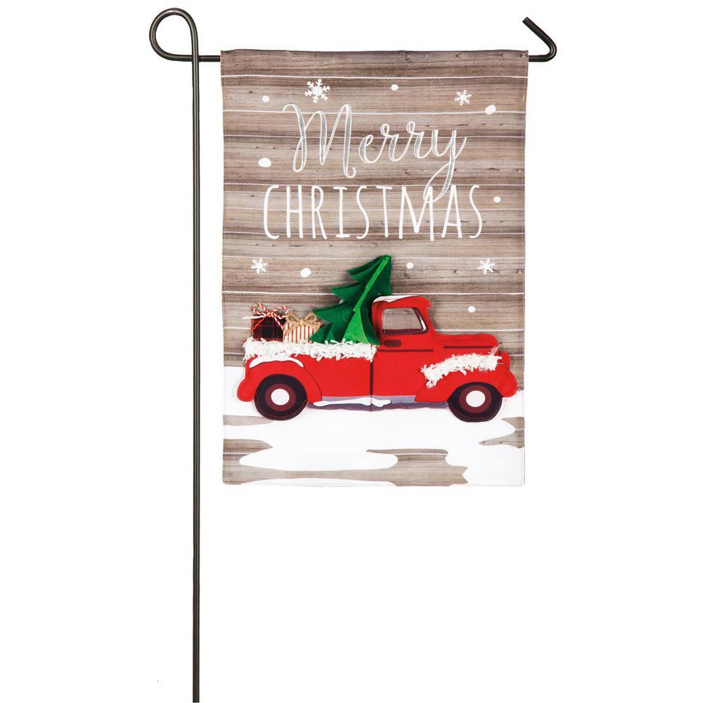 18 in. x 12.5 in. Vintage Christmas Truck Garden Linen Flag