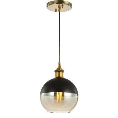 Nixon 7.5 in. 1-Light Brass Gold/Black Adjustable Drop Globe Metal/Glass LED Pendant