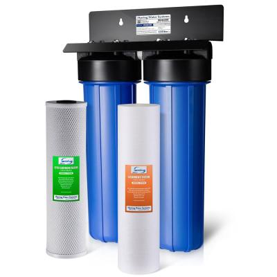 WGB22B 2-Stage 100k Gal. Whole House Water Filter System w/ Big Blue Sediment and Carbon Block Filters