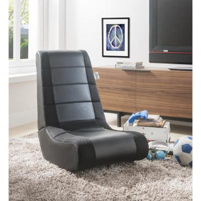 Rockme Black/Black PU Leather Folding Game Chair