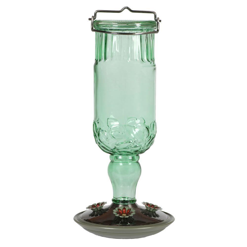 Green Antique Bottle Hummingbird Bird Feeder
