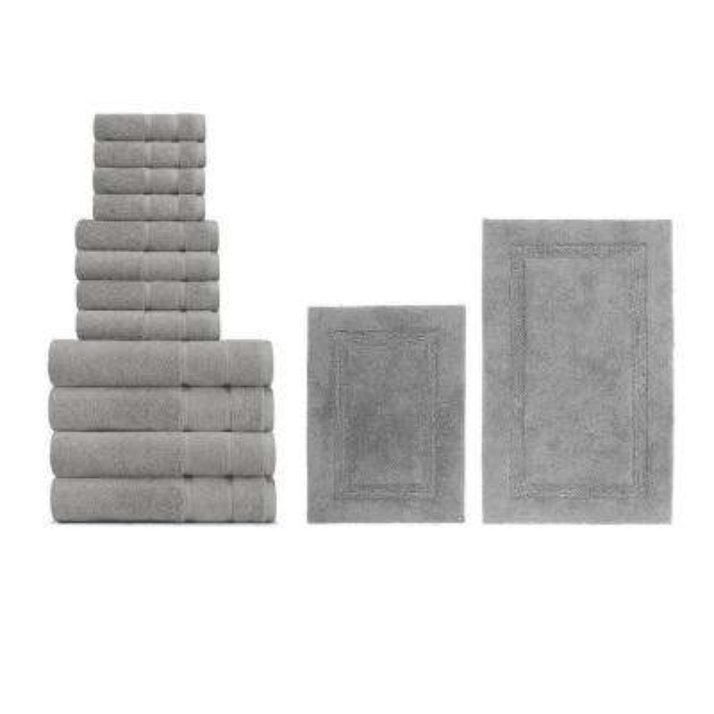 14-Piece Belle Haven/Peniston Grey Cotton Bath Towel and Rug Set