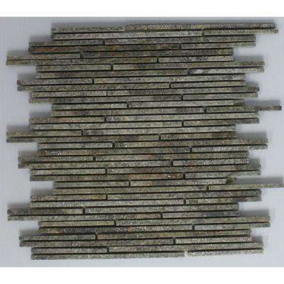 12 in. x 12 in. x 10 mm Tile Esque Green and Grey Quartzite Mesh-Mounted Mosaic Tile