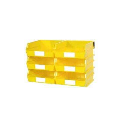 LocBin 2.13-Gal. Wall Storage Bin System in Yellow (6-Bins) and 2- Wall Mount Rails