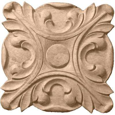 6-1/2 in. x 1 in. x 6-1/2 in. Unfinished Wood Rubberwood Acanthus Rosette