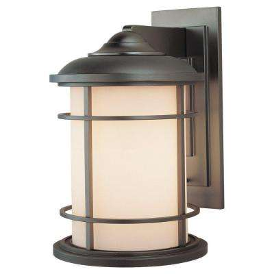 Lighthouse 1-Light Burnished Bronze Outdoor 14.5 in. Wall Lantern