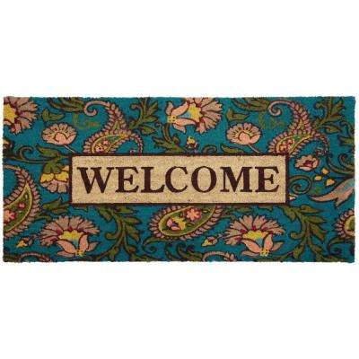 Nicole Miller Patio Fremont Paisley Welcome 22 in. x 47 in. Door Mat