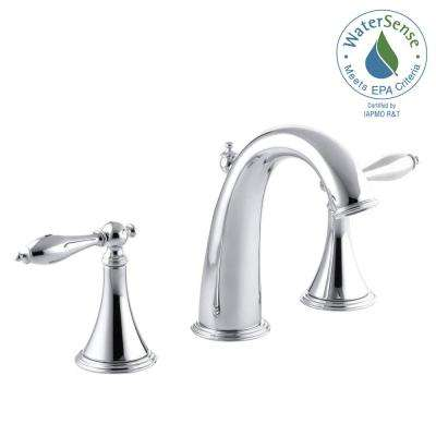Finial Traditional 8 in. Widespread 2-Handle High-Arc Bathroom Faucet in Polished Chrome with Lever Handles