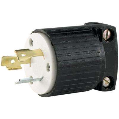 20 Amp 125-Volt Hart-Lock Industrial Grade Plug with Safety Grip, Black and White