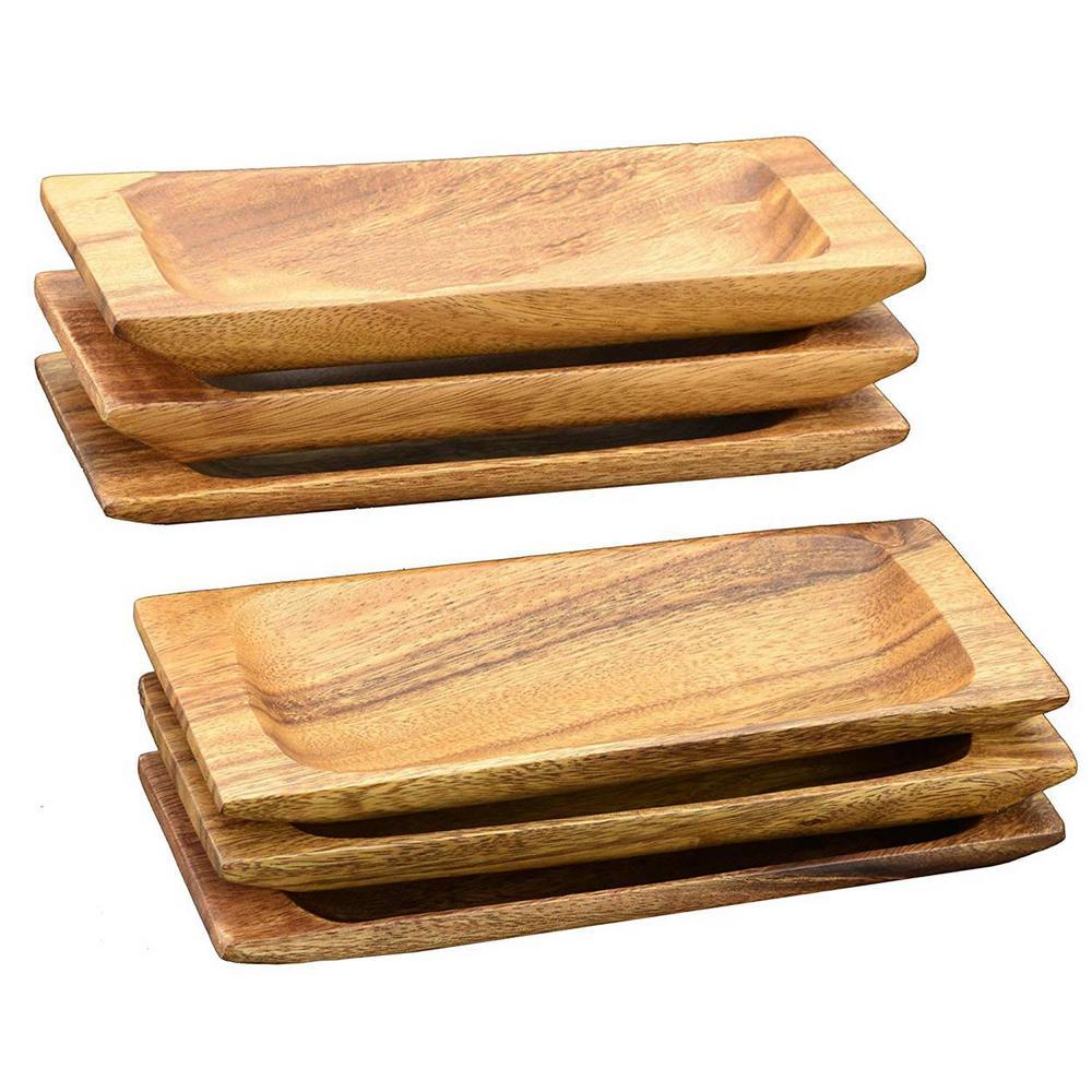 Acaciaware 6-Piece Acacia Hardwood Appetizer Serving Tray Set 22455