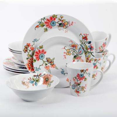 Doraville 16-Piece White Floral Decorated Dinnerware Set