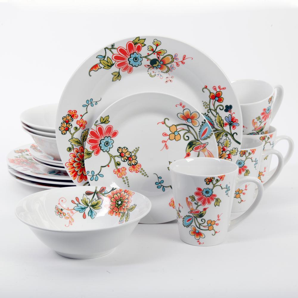 Doraville 16-Piece White Floral Decorated Dinnerware Set