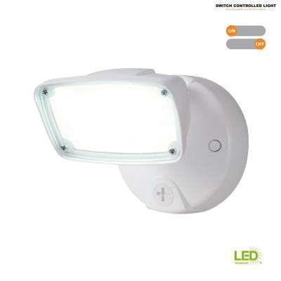 17-Watt White Outdoor Integrated LED Small-Head Security Flood Light with Switch Control