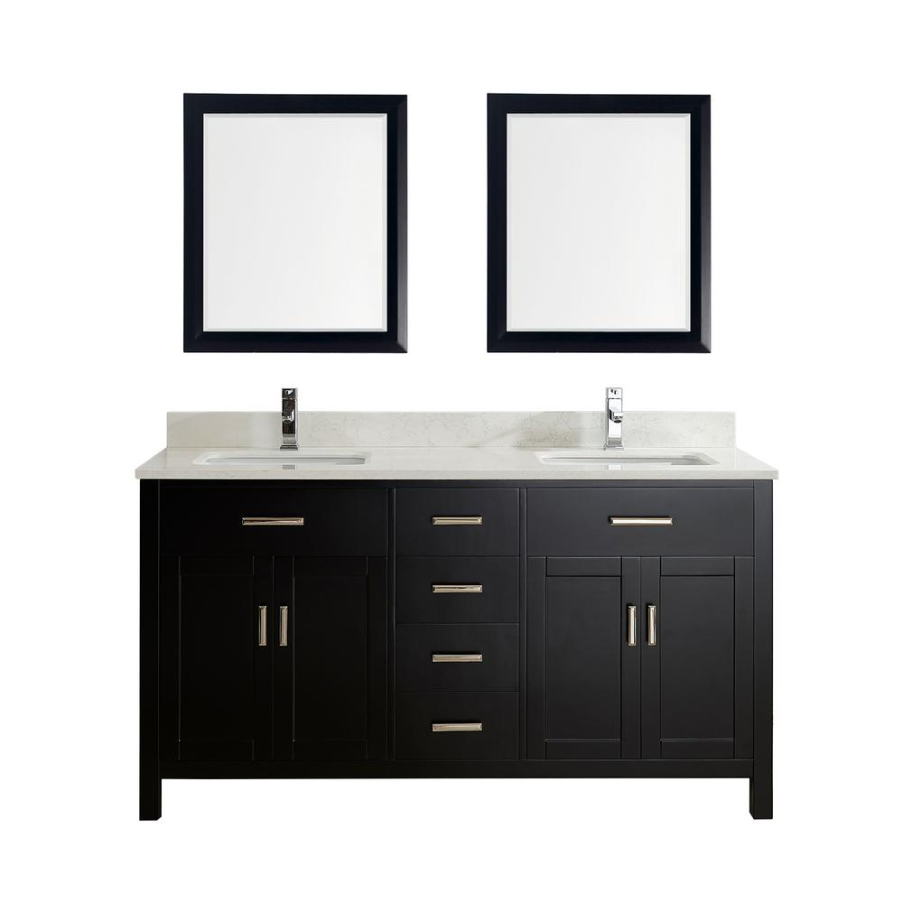 Studio Bathe Kalize 63 in. Vanity in Espresso with Solid Surface Marble Vanity Top in Carrara White and Mirror