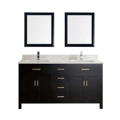 Kalize 63 in. Vanity in Espresso with Solid Surface Marble Vanity Top in Carrara White and Mirror