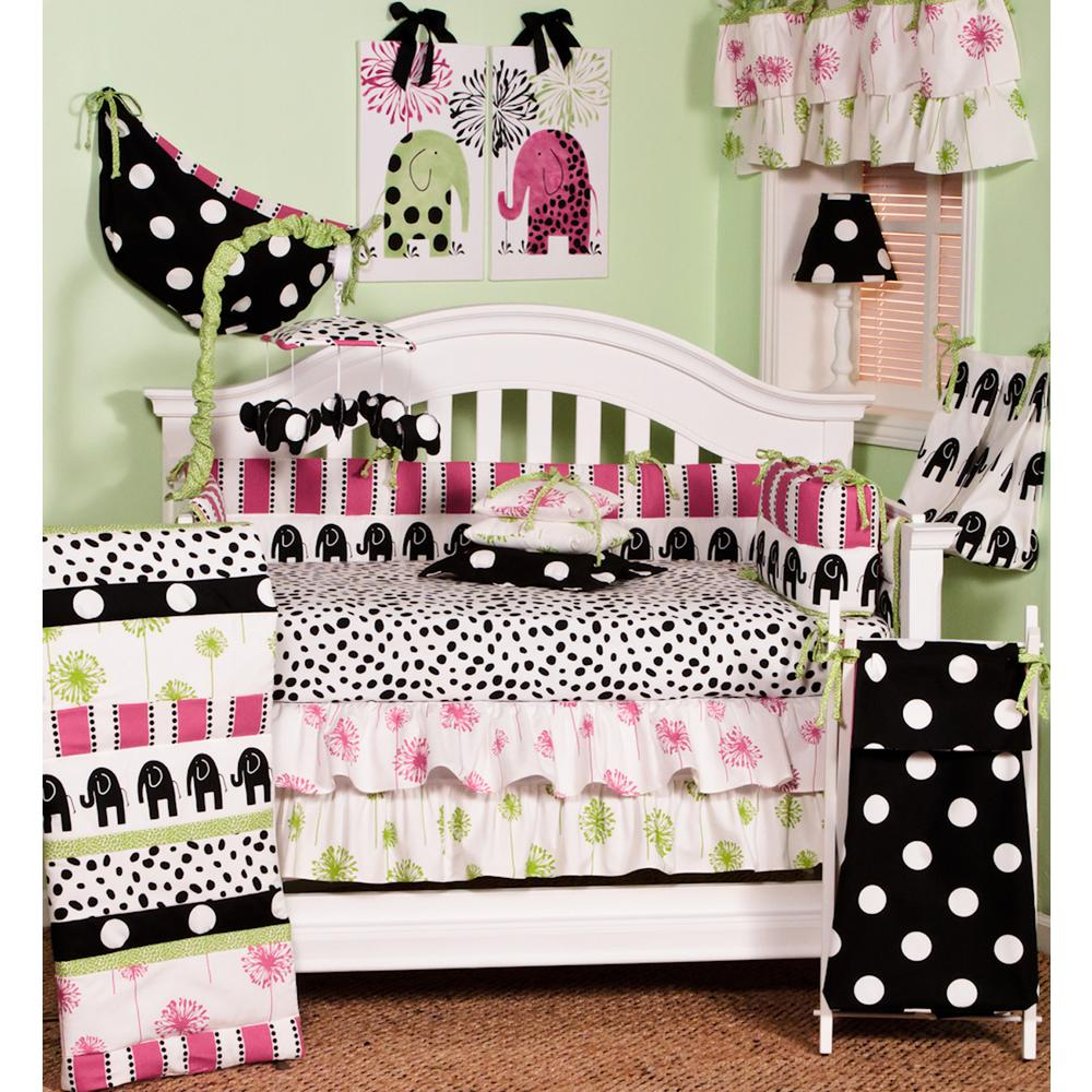 Hottsie Dottsie Multicolor Elephants 4-Piece Crib Bedding Set
