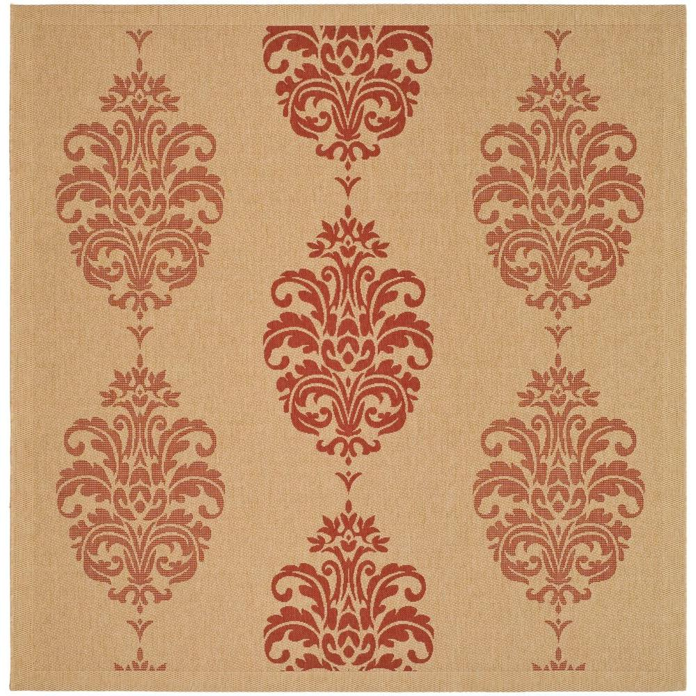 Safavieh Courtyard Natural/Red 6 ft. 7 in. x 6 ft. 7 in. Indoor/Outdoor Square Area Rug