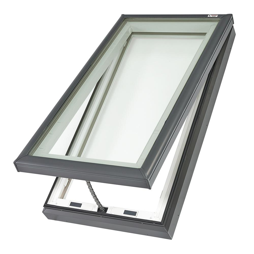 Velux 22 12 In X 46 12 In Fresh Air Venting Curb Mount Skylight With Laminated Low E3 Glass