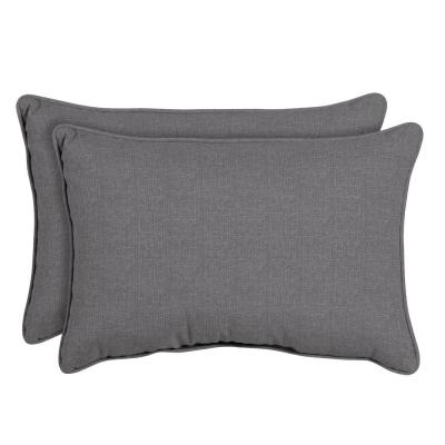 Sunbrella Cast Slate Oversized Lumbar Outdoor Throw Pillow (2-Pack)