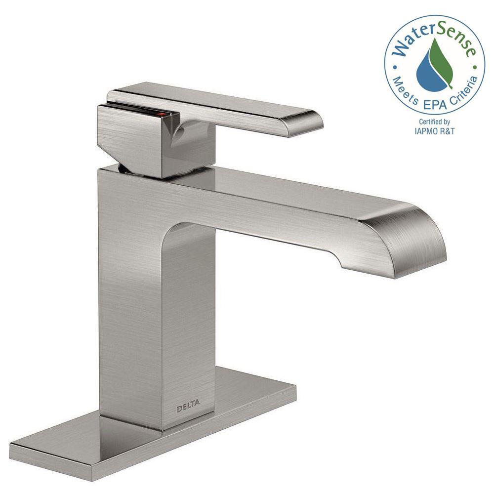 Bathroom Faucets Home Depot Delta delta modern single hole single-handle bathroom faucet in chrome