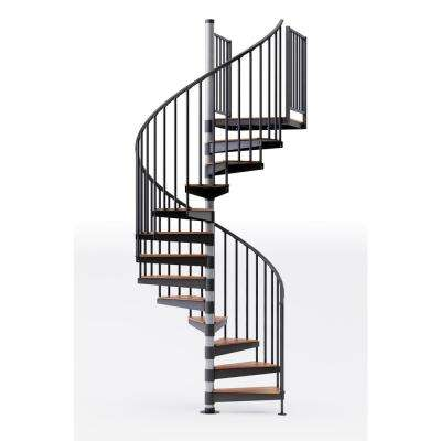 Reroute Prime 60 in. (5 ft. 0 in.) Wide 11 Treads with One 42 in. H Platform Rail Spiral Stair Kit