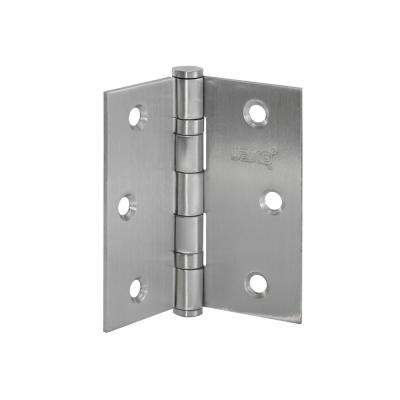 4 in. x 4 in. Stainless Steel Full Mortise Hinge with Ball Bearings