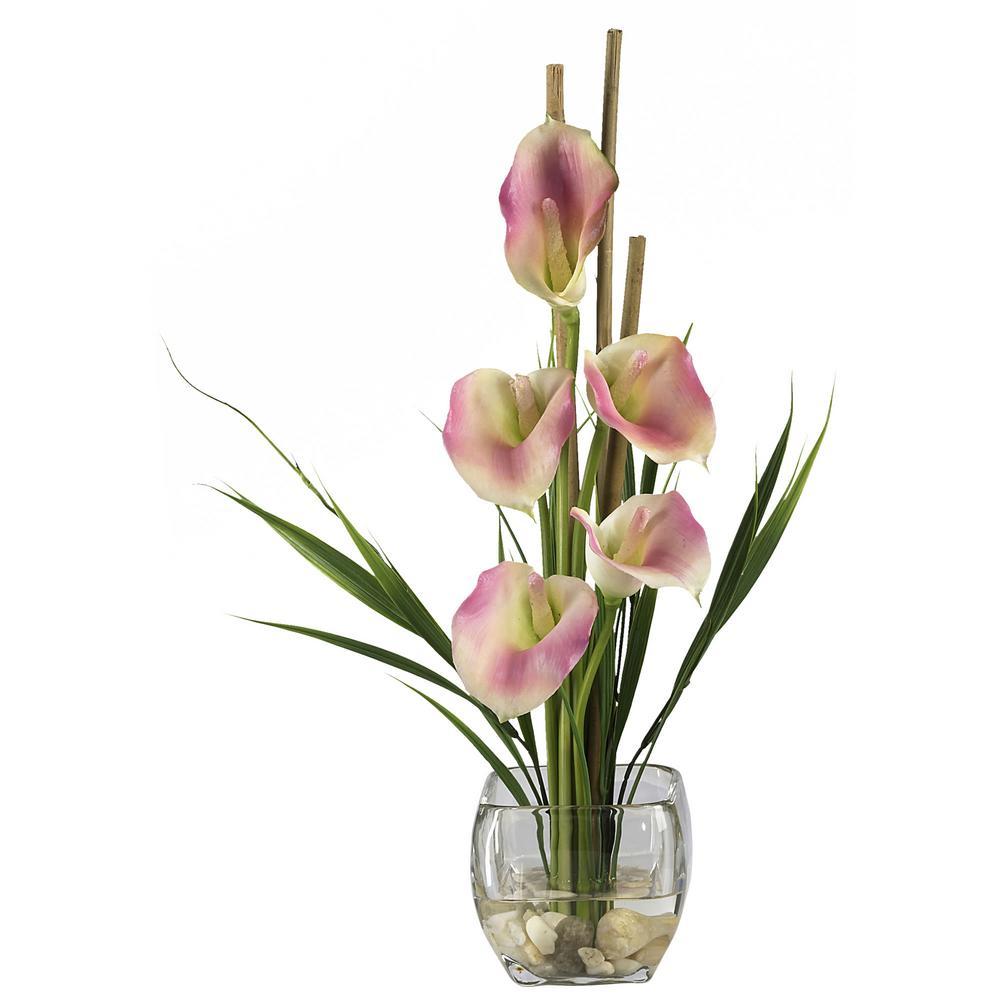 18 in. Calla Lilly Liquid Illusion Silk Flower Arrangement in Pink
