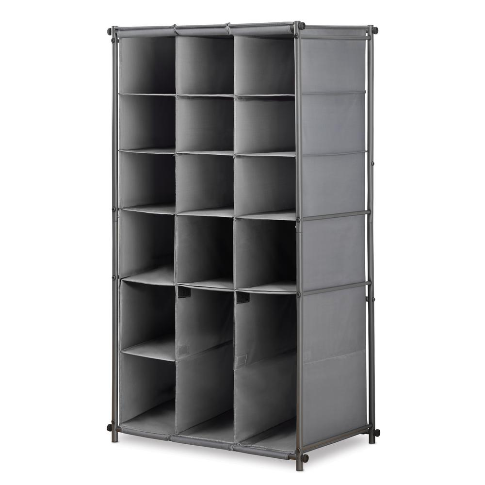 Whitmor 16 Pair Gunmetal Shoe And Boot Cabinet Steel Organizer
