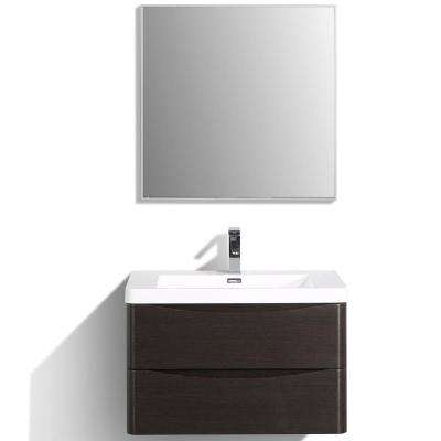 Smile 30 in. W x 20 in. D x 21 in. H Vanity in White with Acrylic Vanity Top in Chest-nut with White Basin