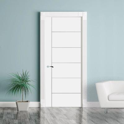 36 in. x 80 in. Modern V-Groove Solid Core White Primed Wood Interior Door Slab